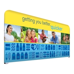 8ft Over The Top Short Back Wall Trade Show Display Kit. Largest most stylish table top display lets you create multiple looks. Adjustable header and backing graphic for use on table top displays. Optional Floor Base for Over The Top Displays