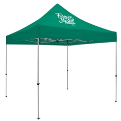 Outdoor 10ft x 10ft Deluxe Tents offer heavy duty commercial-grade popup frames designed for professional use. Canopies can customized with full color printing to display your company branding. Showcase your business name with our outdoor event tent