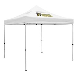 Outdoor 10ft x 10ft Deluxe Tents offer heavy duty commercial-grade popup frames designed for professional use. Canopies can customized with full color printing to display your company branding. Showcase your business name with our outdoor event te