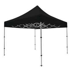 Outdoor 10ft x 10ft Compact Tents offer heavy duty commercial-grade popup frames designed for professional use. Canopies can customized with full color printing to display your company branding. Showcase your business name with our outdoor event tents.