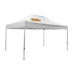 Outdoor 10ft x 15ft Premium Tents offer heavy duty commercial-grade popup frames designed for professional use. Canopies can customized with full color printing to display your company branding. Showcase your business name with our outdoor event tents.