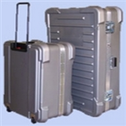22in x 16in x 12in  919 Heavy Duty Wheeled Shippers Travel Case no Foam Filled is built to last. Great for shipping flat panel monitors. Silver gray shipping cases. Shipping case with optional custom foam interiors for transporting your products safely
