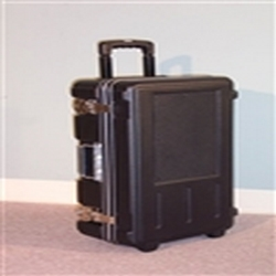 23ft x 17ft x 6.5ft 696 Wheeler Molded Wheeled Travel Case no Foam Filled. Ergonomically molded to provide a portable and durable solution, the 696 Wheeler case is perfect for sales people. Check as baggage, Carry on plane.