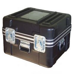 808 Super Molded Shipping Case Carry it, Stack it, Ship it! Top of the line case made of high density polyethylene Molded girder ribs Alloy hardened aluminum frame with gasket seal Optional 2in casters