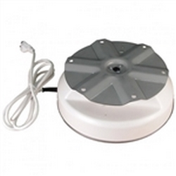 IR-100 Display Turntable (Without Rotating Wires) low profile turntable is rated to turn 100 lbs with a larger 9-inch diameter turntable plate. Includes a 6-foot power cord, a safety clutch to prevent damage to the motor when turning motion is obstructed