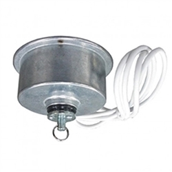 Hanging rotator that is designed for small, lightweight loads weighing less than 10 lbs. Great for signs, light balls, or any other objects that turn to create attention. M-10 HANG has a rotating power outlet for powered lights or devices on the display