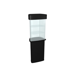 QUATTRO Glass Counter Trade Show Display Podium is a great way to display your product at trade show or Event. Use the signage area at the top of the display case to attract attention.