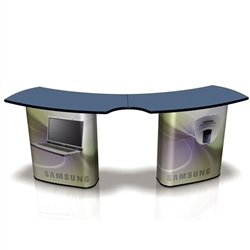 The SOLO Service Counter Graphic will dress your SOLO SOLO Service Counter for success!  SOLO is a portable sales counter, a registration desk, a sampling station, a display case, a light box, a literature display, a demonstration booth. You decide!