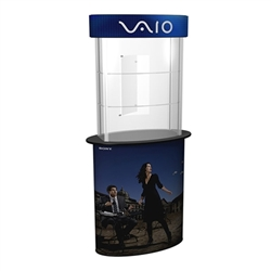 SOLO Glass Counter Display Case with Graphic serves perfectly as a showcase and protection for your trade show or retail products. Smart trade show design incorporates practical counters, workstations, pedestals, and towers.