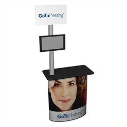 SOLO Pronto Post Counter with Full Graphic Wrap will serve perfectly as a workstation and mount for your monitor at your next trade show or retail display. Header sign will serve as a great marketing tool. Use it with other counters, podiums, workstations