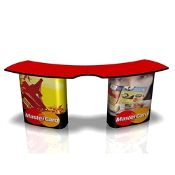 Use SOLO Service Trade Show Counter with Graphic as a trade show display counter or desk area. The SOLO Service Counter creates a level presentation surface with the added bonus of storage. Add full color detachable graphics to advertise your logo