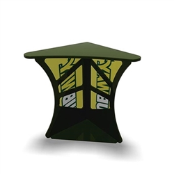 SOLO Magic Dino Corner Podium Display features a right angle corner shape for a nice trade show booth accessory podium for product demonstration. Tables and counters are designed to provide functional workspace and easily-accessible storage areas.