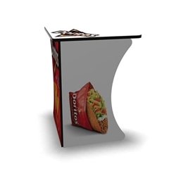 SOLO Magic Dino Corner Workstation Display features a right angle corner shape for a nice trade show booth accessory podium for product demonstration. Tables and counters are designed to provide functional workspace and easily-accessible storage areas.