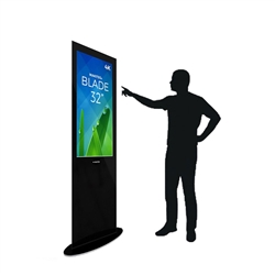 Blade 32in LED Touch Screen Digital Signage Black Kiosk V3BPT32. Event and trade show professionals can take advantage of the power that digital signage kiosk, when designing your next trade show booth