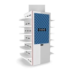 MAKITSO Quad Blade V3WP50 Digital White Kiosk Display with Shelves. Event and trade show professionals can take advantage of the power that digital signage kiosk, when designing your next trade show booth think of incorporating flat-panel screens to make