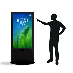 Blade 58in LED Touch Screen Digital Signage Black Kiosk V3BPT58. Event and trade show professionals can take advantage of the power that digital signage kiosk, when designing your next trade show booth