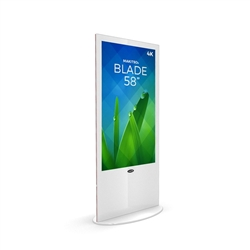 58in MAKITSO V3WP58 Blade Digital Signage White Kiosk Display. Event and trade show professionals can take advantage of the power that digital signage kiosk, when designing your next trade show booth think of incorporating flat-panel screens to make a big