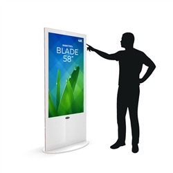 Blade 58in LED Touch Screen Digital Signage Black Kiosk V3WPT58. Event and trade show professionals can take advantage of the power that digital signage kiosk, when designing your next trade show booth