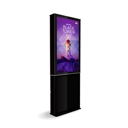 50in DTBP50 Blade Dual Tower Black Digital Signage Kiosk. Event and trade show professionals can take advantage of the power that digital signage kiosk, when designing your next trade show booth think of incorporating flat-panel screens to make a  impact