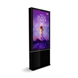 58in DTBP58 Blade Dual Tower Black Digital Signage Kiosk. Event and trade show professionals can take advantage of the power that digital signage kiosk, when designing your next trade show booth think of incorporating flat-panel screens to make a  impact
