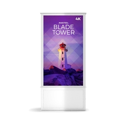 58in DTWP58 Blade Dual Tower White Digital Signage Kiosk Event and trade show professionals can take advantage of the power that digital signage kiosk, when designing your next trade show booth think of incorporating flat-panel screens to make a  impact