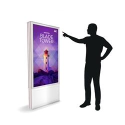 58in DTWPT58 Blade Touch Screen Dual Tower White Digital Signage Kiosk. Event and trade show professionals can take advantage of the power that digital signage kiosk, when designing your next trade show booth think of incorporating flat-panel screens.