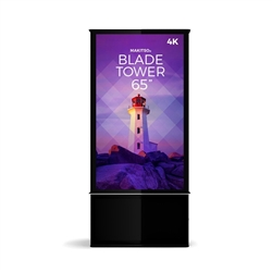 65in DTBP65 Blade Dual Tower Black Digital Signage Kiosk. Event and trade show professionals can take advantage of the power that digital signage kiosk, when designing your next trade show booth think of incorporating flat-panel screens to make a  impact