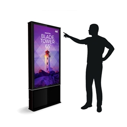 65in DTBPT65 Blade Touch Screen Dual Tower Black Digital Signage Kiosk. Event and trade show professionals can take advantage of the power that digital signage kiosk, when designing your next trade show booth think of incorporating flat-panel screens.