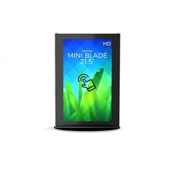 21.5in Makitso Black Mini Blade Touch Screen Digital Signage Vertical Mode. Eliminate the need for printing new banners and will provide a strong and elegant presence at your trade show, retail, corporate locations as well as high traffic areas airports,