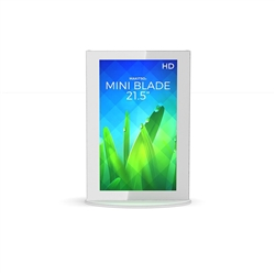 21.5in White Mini Blade Digital Signage Display Vertical Mode eliminate the need for printing new banners and will provide a strong and elegant presence at your trade show, retail or corporate locations as well as high traffic areas such as airpo