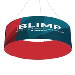 15ft x36in Double Sided MAKITSO Blimp Circle Hanging Tension Fabric Banner. It is easy for trade show booths to get lost in the crowd. Create excitement and make your booth more visible by displaying our custom Ceiling Hanging Banner Displays