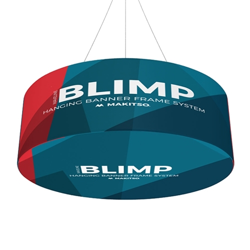 12ft x24in MAKITSO Blimp Round Hanging Tension Fabric Banner with Printed Bottom. It is easy for trade show booths to get lost in the crowd. Create excitement and make your booth more visible by displaying our custom Ceiling Hanging Banner