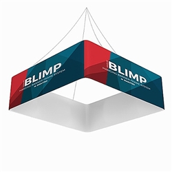 8ft x 36in MAKITSO Blimp Quad Hanging Tension Fabric Banner Single Sided. Blimp Quad Square Hanging Sign is an impressive and affordable trade show and exhibit hanging sign, offers high-end graphics.