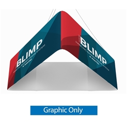 8ft x 24in MAKITSO Blimp Trio (Triangle) Hanging Tension Fabric Banner Single Sided Graphic Only is effective and affordable solution for trade show. The pillowcase style graphic is easy to assembly, the frame made from light weight aluminum. High quality