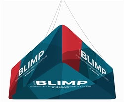8' x 24'' MAKITSO Blimp Trio (Triangle) Hanging Tension Fabric Banner with Printed Bottom  is effective and affordable solution for trade show . The pillowcase style graphic is easy to assembly, the frame made from light weight aluminum. High quality prin