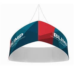 10ft x 24in MAKITSO Blimp Curved TRIO (Triangle)  Hanging Tension Fabric Banner Single Sided. This overhead signage features curved triangle shape, lightweight aluminum frame, high quality fabric graphic and fast shipping