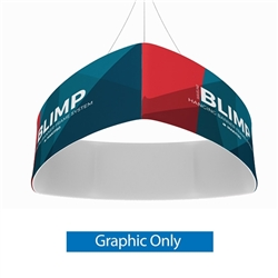 10ft x 24in MAKITSO Blimp Curved TRIO (Triangle) Hanging Tension Fabric Banner Single Sided Graphic Only. This overhead signage features curved triangle shape, lightweight aluminum frame, high quality fabric graphic and fast shipping