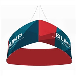 10ft x 24in MAKITSO Blimp Curved TRIO (Triangle)  Hanging Tension Fabric Banner Double Sided. This overhead signage features curved triangle shape, lightweight aluminum frame, high quality fabric graphic and fast shipping