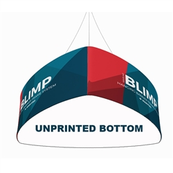 10ft x 24in MAKITSO Blimp Curved TRIO (Triangle)  Hanging Tension Fabric Banner with Blank Bottom. This overhead signage features curved triangle shape, lightweight aluminum frame, high quality fabric graphic and fast shipping
