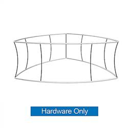 12ft x 36in MAKITSO Blimp Curved TRIO (Triangle)  Hanging Tension Fabric Banner Hardware Only. This overhead signage features curved triangle shape, lightweight aluminum frame, high quality fabric graphic and fast shipping
