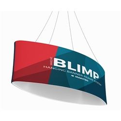 10ft x 24in MAKITSO Blimp Ellipse Hanging Tension Fabric Banner Single Sided. Hanging Banner Displays: high-quality print graphic, lightweight aluminum frame, largest variety of Ellipse Hanging signs for trade shows.