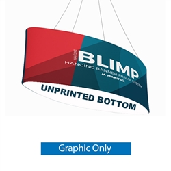 12ft x 36in MAKITSO Blimp Ellipse Hanging Tension Fabric Banner Graphic with Blank Bottom Only. Hanging Banner Displays: high-quality print graphic, lightweight aluminum frame, largest variety of Ellipse Hanging signs for trade shows.