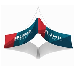 10ft x 24in MAKITSO Blimp Quad Curved Hanging Tension Fabric Banner Single Sided. These uniquely shaped hanging banners is effective way to represent your company on trade show.  Superior dye-sublimation graphic, light aluminum frame, variety of sizes.