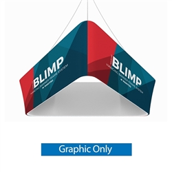 10ft x 24in MAKITSO Blimp Trio Tapered Hanging Tension Fabric Banner Single Sided Graphic Only.  Blimp series of hanging signs and displays is an affordable solution for the trade shows. The sign combine the high quality materials with a new lower price.