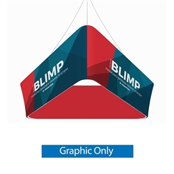 10ft x 36in MAKITSO Blimp Tapered Hanging Tension Fabric Banner Double Sided Graphic Only.  Blimp series of hanging signs and displays is an affordable solution for the trade shows. The sign combine the high quality materials with a new lower price.