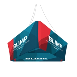 10ft x 24in MAKITSO Blimp Trio Tapered Hanging Tension Fabric Banner with Printed Bottom. Blimp series of hanging signs and displays is an affordable solution for the trade shows. The sign combine the high quality materials with a new lower price.