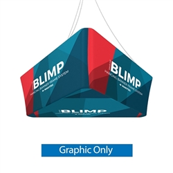 10' x 24'' MAKITSO Blimp Trio Tapered Hanging Tension Fabric Banner with Printed Bottom Graphic Only.  Blimp series of hanging signs and displays is an affordable solution for the trade shows. The sign combine the high quality materials with a new lower p