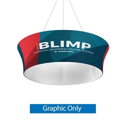 10ft x 36in MAKITSO Blimp Tube Tapered Hanging Tension Fabric Banner Single Sided Graphic Only. Blimp series of hanging signs for trade show made from light aluminum, wrapped in a vibrant dye-sublimation graphic print. Hang overhead from ceilings or truss
