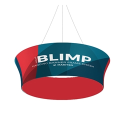 10ft x 36in MAKITSO Blimp Tube Tapered Hanging Tension Fabric Banner Double Sided. Blimp series of hanging signs for trade show made from light aluminum, wrapped in a vibrant dye-sublimation graphic print. Hang overhead from ceilings or truss systems.