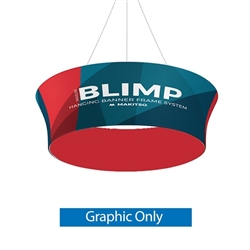 10ft x 36in MAKITSO Blimp Tube Tapered Hanging Tension Fabric Banner Double Sided Graphic Only. Blimp series of hanging signs for trade show made from light aluminum, wrapped in a vibrant dye-sublimation graphic print. Hang overhead from ceilings or truss